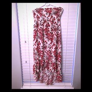 Cherry Blossom printed hi-Lo maxi dress